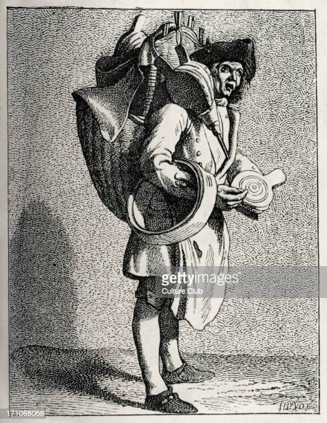 a bellows seller and bucket mender in 18th century Paris France Working class poor rustic livelihood during reign of Louis XV Trade tradesmen...