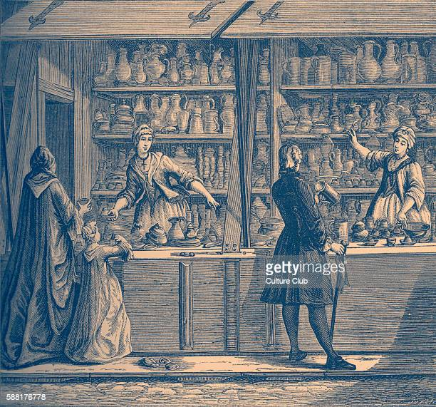 a dealer in tinware in her shop / stall Working class poor rustic Trade trader in 18th century France