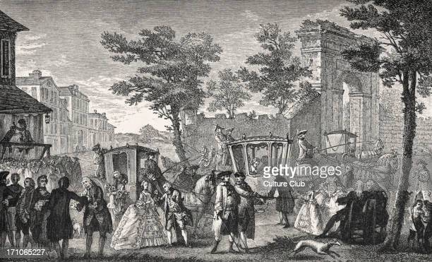 a fashionable gathering in 18th century France Aristocracy and upper middle classes during reign of Louis XV Coach and horses / carriages background...