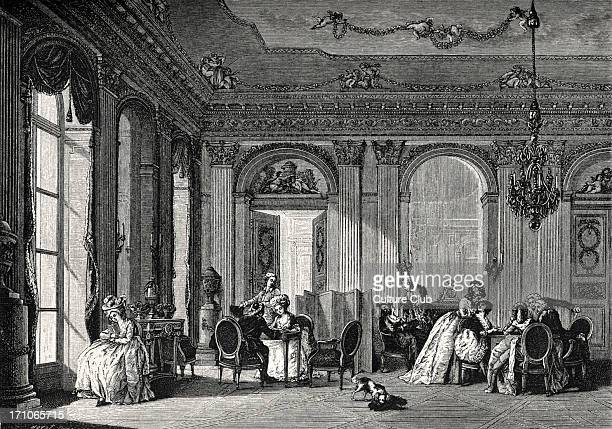 an aristocratic meeting a salon High society servants in background leisure entertainment interior 18th century France during the reign of Louis XVI