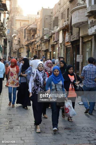 Daily life in medieval Cairo and oldest streets in Cairo on September 21 2014 in Cairo Egypt