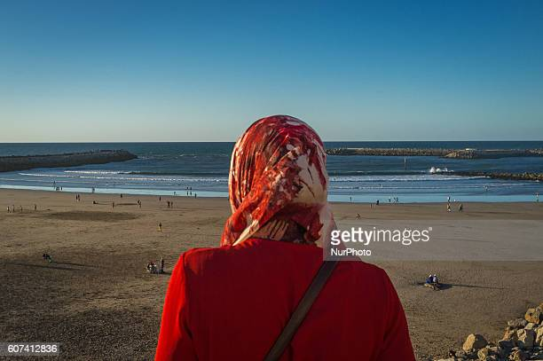 Daily life in Rabat Morocco on 17 September 2016 during the fest of Aïd El Kebir between tradition and modernism The young muslims try to hang up...