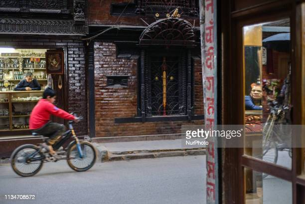 Daily life in Thamel district Kathmandu Nepal on April 3 2019