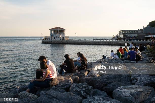 Daily life in the Kadikoy district of Istanbul, Turkey seen on June 13, 2021 before the Sunday curfew that is imposed as part of the COVID-19...