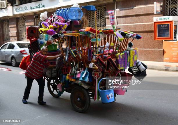 Daily life in the old city centre of Alexandria on November 23 2019 in Alexandria Egypt