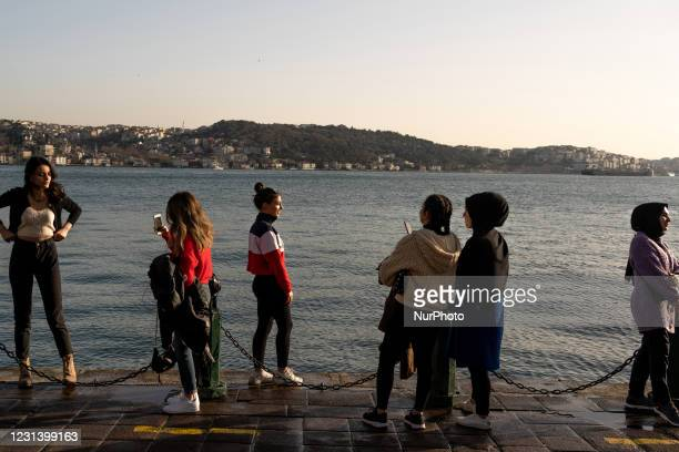 Daily life in the Uskudar district of Istanbul, Turkey seen on February 26, 2021. As part of the measures against the spreading of COVID-19,...