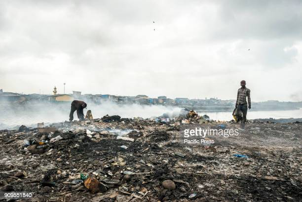 Daily life in the waste disposal dump were the residents recycle the junk In the outskirts of Accra there is the biggest electronic waste disposal...