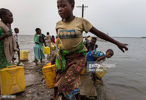 Daily life in Vitshumbi Fishing village on the Southern shores of Lake Edward on July 28 2013 in Vitshumbi DR Congo The villagers depend on the lake...