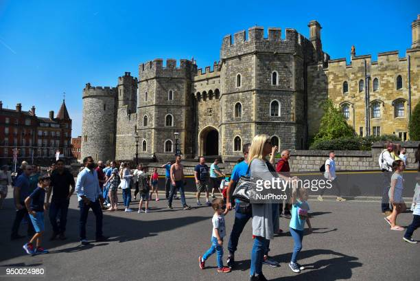 Daily life is pictured as the sun shines WIndsor on April 22 2018 St George's Chapel at Windsor Castle will host the wedding of Prince Harry and...