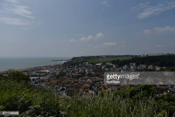 Daily life is pictured in the town of Hastings East Sussex on June 10 2018 Hastings is a town and borough in East Sussex on the south coast of...