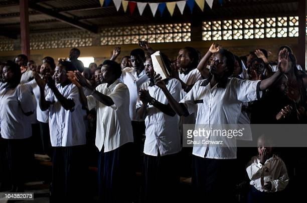 A daily life moment in the church of Ephigenie Mwkantabana who had lost her husband and children in the 1994 Rwandan geoncide April 20 2008 in...