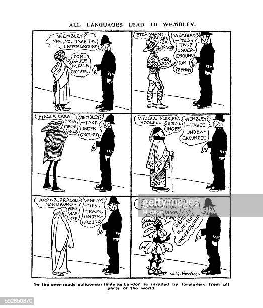 Daily Mirror Cartoon by William Kerridge Haselden Published in the Daily Mirror Newspaper 15th May 1924 ALL LANGUAGES LEAD TO WEMBLEY So the ever...