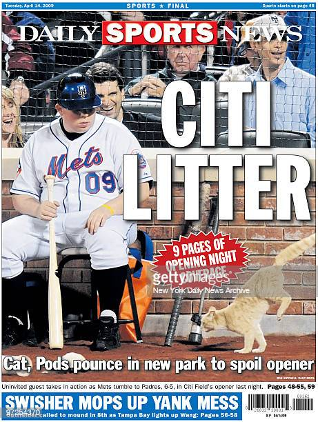 Daily News back page April 14 Headline reads Citi Litter Cat Pods pounce in new park to spoil opener Uninvited guest takes in action as Mets tumble...
