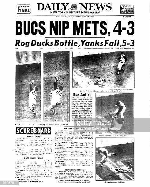 Daily News back page dated April 14 Headline BUCS NIP METS 43 Rog Ducks Bottle Yanks Fall 53