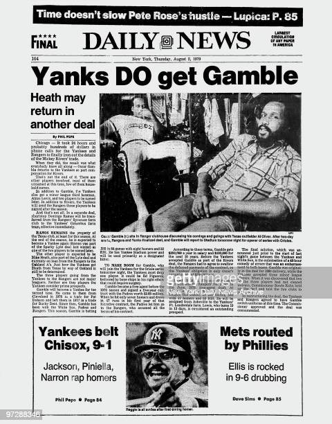 Daily News back page dated August 2 Headline Yanks DO get Gamble Health may return in another deal Oscar Gamble sits in Ranger clubhouse discussing...