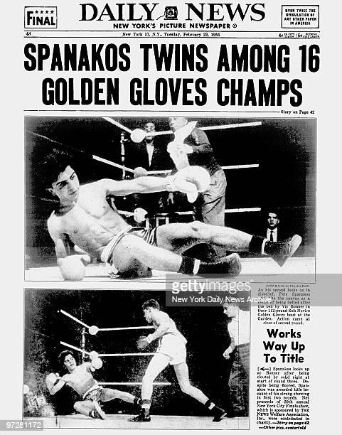 Daily News back page dated Feb 22 Headline SPANAKOS TWINS AMONG 16 GOLDEN GLOVES CHAMPS Pete Spanakos and Nick Spanakos