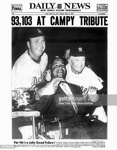 Daily News back page dated May 8 Headline 93103 At Campy Tribute For He's a Jolly Good Fellow Everybody beams as former Dodger catcher Roy Campanella...