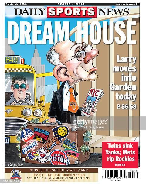 Daily News back page July 28 Headline DREAM HOUSE Larry moves into Garden today Ed Murawinksi cartoon