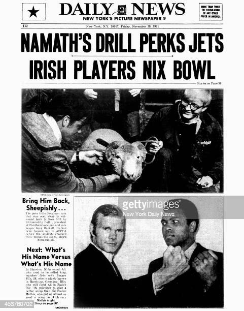 Daily News back page November 19 1971 Headline NAMATH'S DRILL PERKS JETSIRISH PLAYERS NIX BOWLBring Him Back SheepishlyThe poor little Fordham ram...