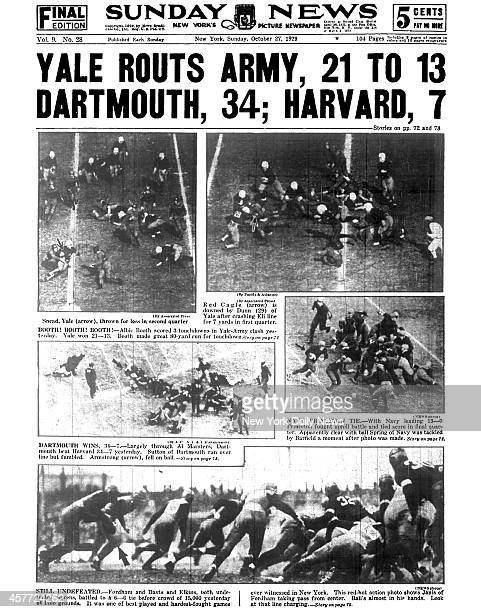 Daily News back page October 27 Headline: YALE ROUTS ARMY, 21 TO 13 DARTMOUTH, 34; HARVARD, 7