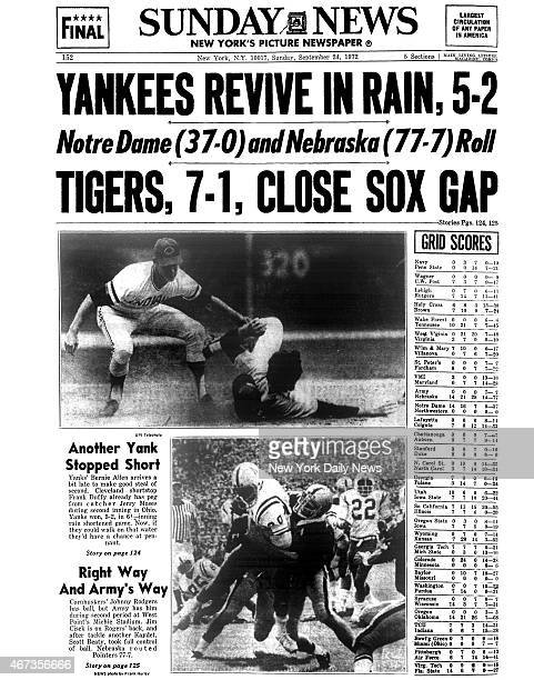 Daily News back page September 24 Headline YANKEES REVIVE IN RAIN 52 Notre Dame and Nebraska Roll TIGERS 71 CLOSE SOX GAP Yankees Bernie Allen...