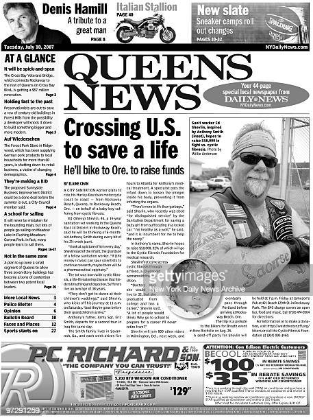 Daily News from July 10 2007 with story on Ed Shevlin who will raise funds for cystic fibrosis by crossing the country on his motorcycle