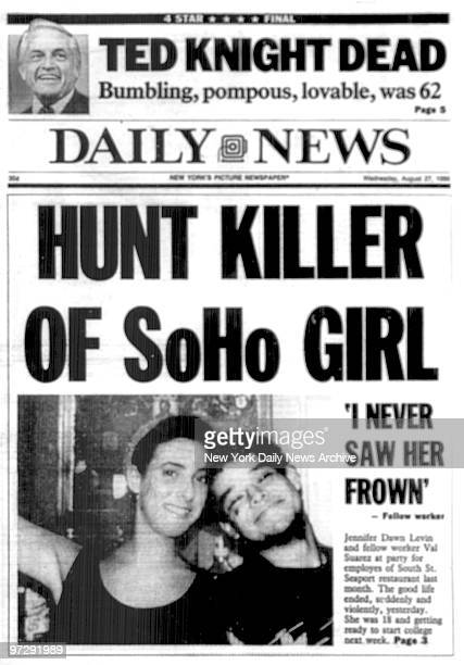 Daily News front page August 27 Headline HUNT KILLER OF SoHo Girl Jennifer Levin