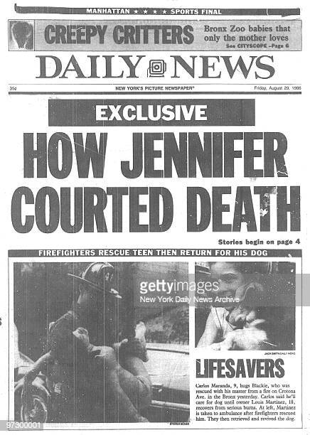 Daily News front page August 29 Headline HOW JENNIFER COURTED DEATH about the murder of Jennifer Levin by Robert Chambers reading
