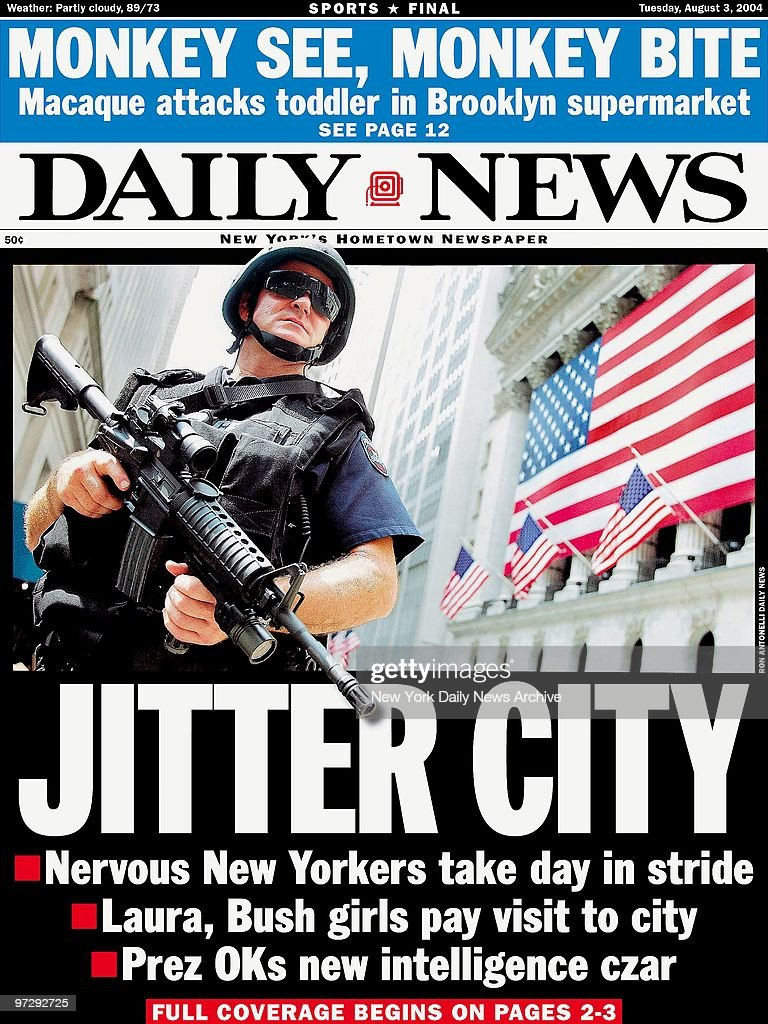 Daily News front page dated August 3, 2004, Headline: JITTER : News Photo