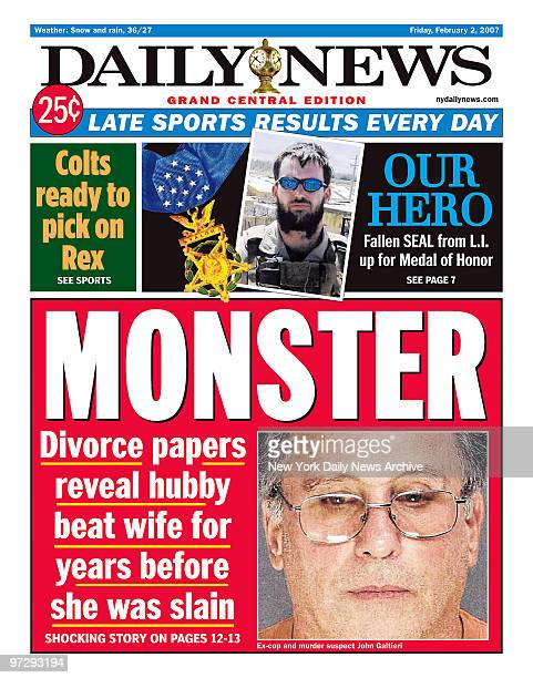 Daily News front page dated Feb 02 Headline MONSTER Divorce papers reveal hubby beat wife for years before she was slain Excop and murder suspect...