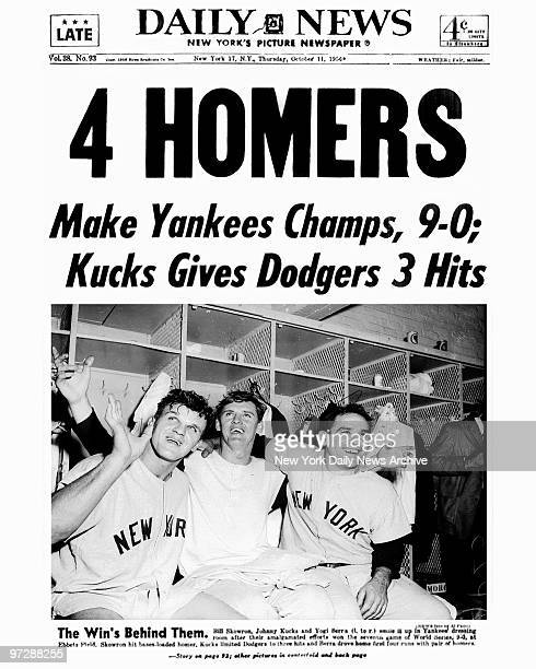 Daily News front page dated Oct 11 1956 Headline 4 HOMERS Make Yankees Champs 90 Kucks Gives Dodgers 3 Hits New York Yankees win the World Series