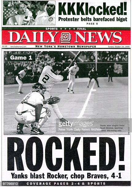 Daily News front page dated Oct 24 Headline ROCKED Yanks blast Rocker chop Braves 41 New York Yankees beat the Atlanta Braves in Game 1 of the World...
