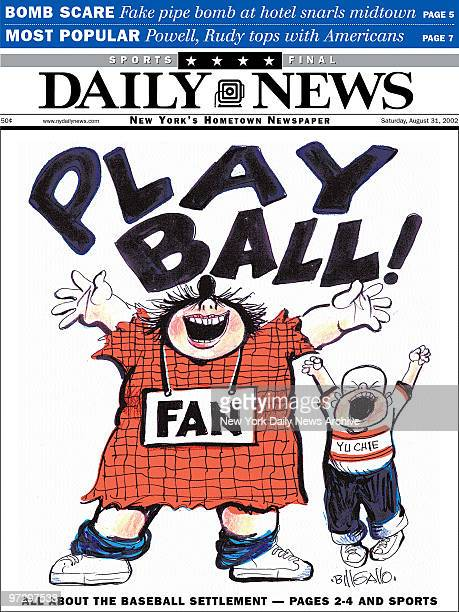 Daily News front page dated Sat August 31 Headlines PLAY BALL Cartoon by Bill Gallo