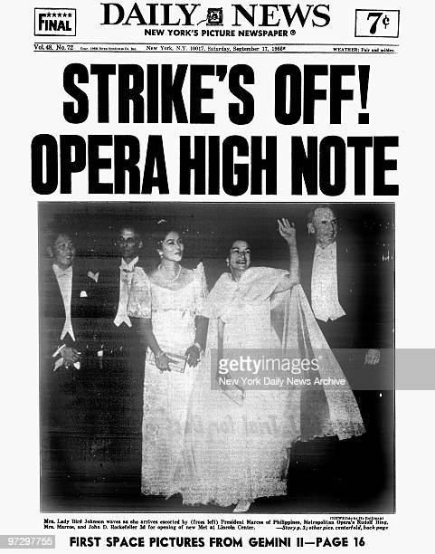 Daily News front page dated September 17 Headline: STRIKE'S OFF HIGH OPERA NOTE, The Center of Attention. , Mrs. Lady Bird Johnson waves to admirers...