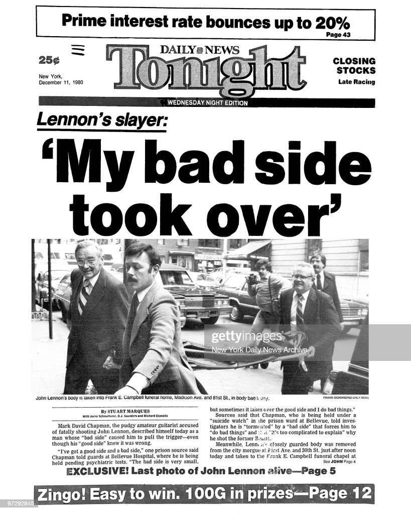 Daily News front page December 11, 1980, Headline: Lennon' : News Photo