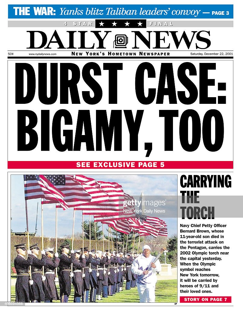 Daily News front page DURST CASE: BIGAMY, TOO : ニュース写真