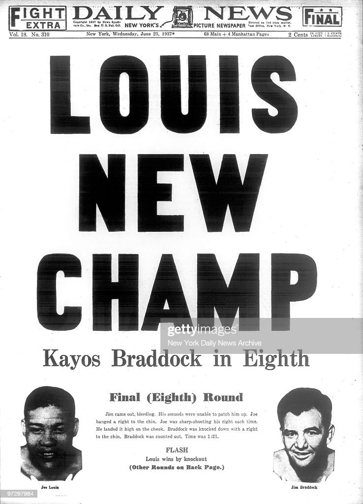 Daily News Front page for June 25, 1937 , Headline reads 'Louis New Champ' story on Joe Louis Jim Braddock fight
