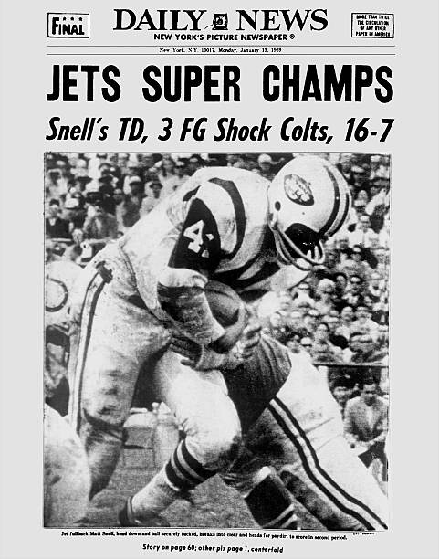 Daily News front page dated Jan. 13, 1969, Headlines: JETS S