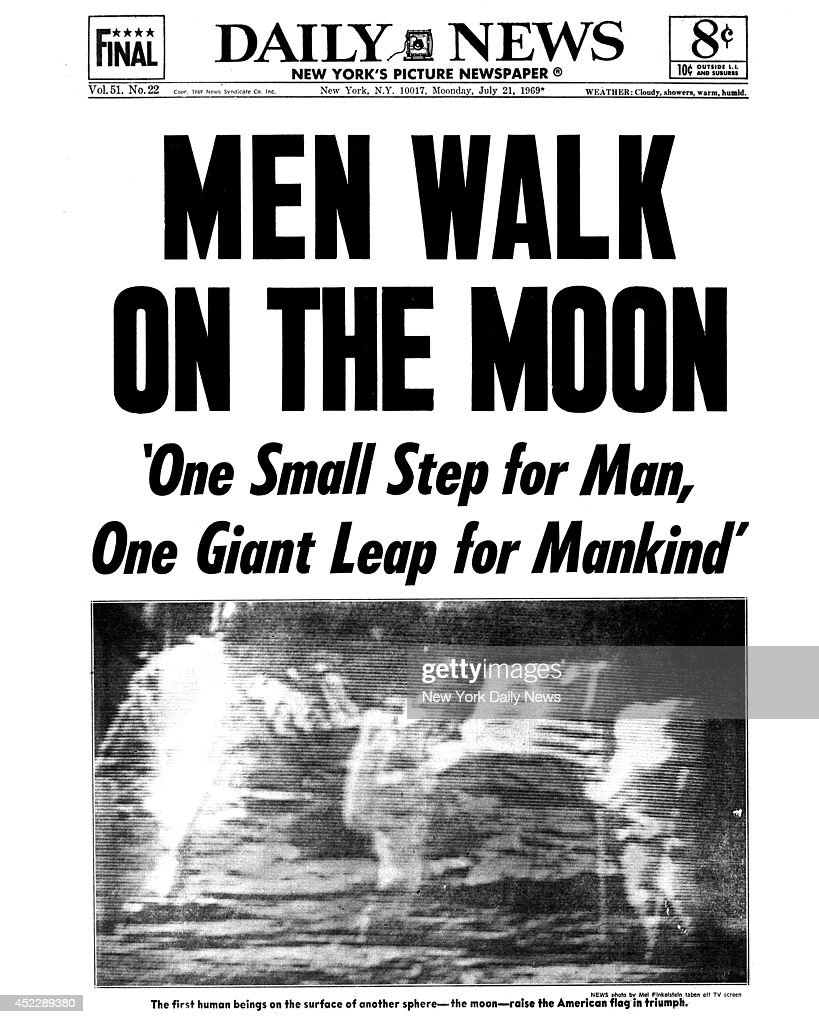 1st Man On Moon Newspaper Headlines Of The Us Wiring Diagrams Theremin Circuit Diagram Tradeoficcom Daily News Front Page July 1969 Headline Men Walk One Rh Gettyimages Com