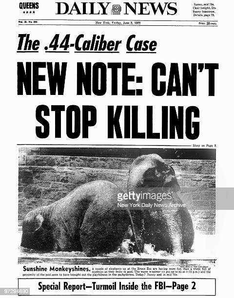 Daily News front page June 3 Headline The 44Caliber Case NEW NOTE CAN'T STOP KILLING Son of Sam David Berkowitz