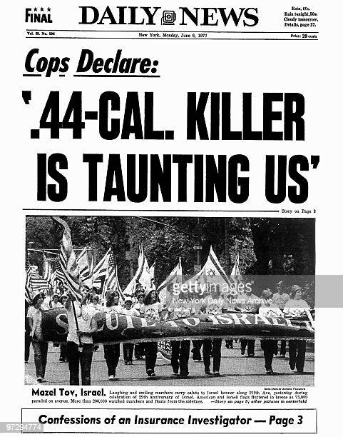 Daily News front page June 6 1977 Headline Cops Declare '44CAL KILLER IS TAUNTING US' Son of Sam David Berkowitz