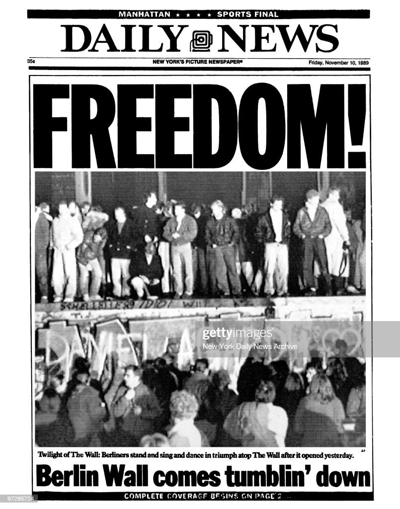 Daily News front page dated Nov. 10, 1989, Headlines: FREEDO : News Photo