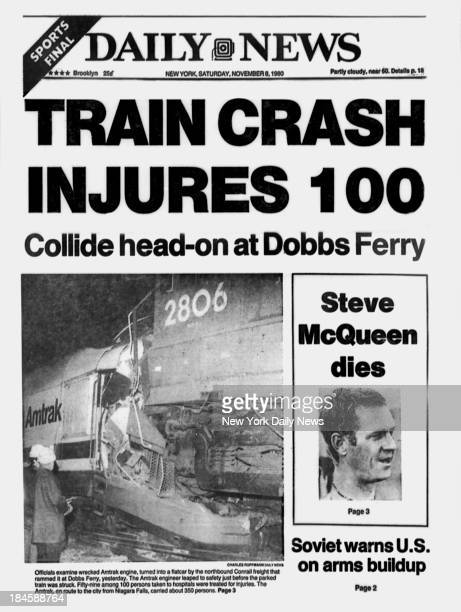 Daily News front page November 8 1980 Headline TRAIN CRASH INJURES 100 Collide headon at Dobbs Ferry Officials examine wrecked Amtrak engine turned...