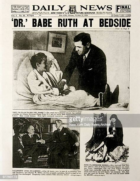 Daily News front page October 12 1926 Headline 'DR' BABE RUTH AT BEDSIDE 'Gee I'M Glad To See You Babe' The small boy's greatest dream was realized...