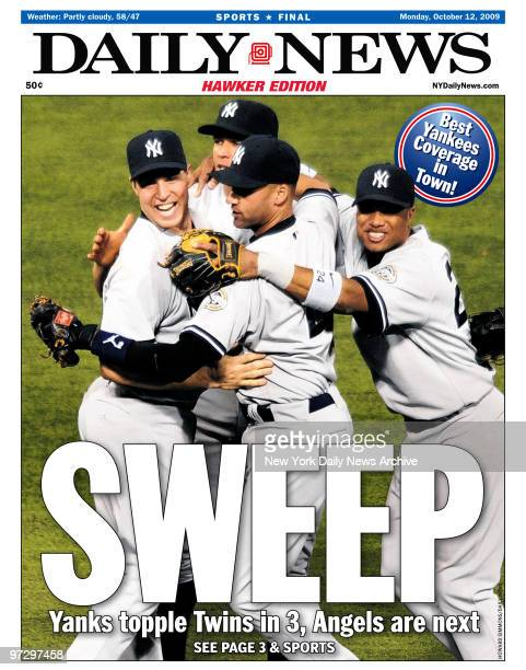 Daily News front page October 12 Headline SWEEP Yanks topple Twin in 3 Angels are next New York Yankees