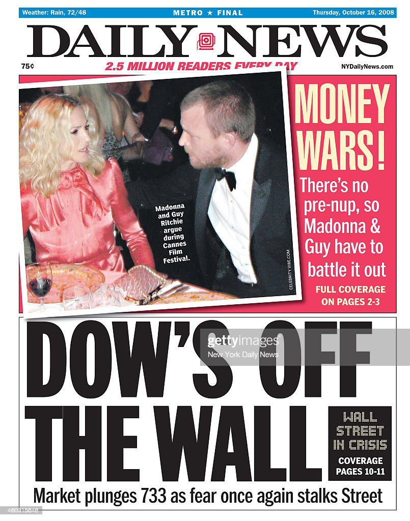 daily news front page october 16 headline dow s off the wall