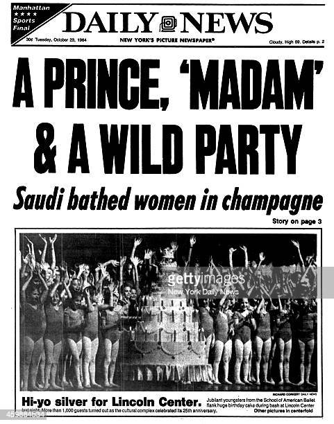 Daily News front page October 23 Headline A PRINCE 'MADAM' A WILD PARTY Saudi bathed women in champagne Sydney Biddle Barrows