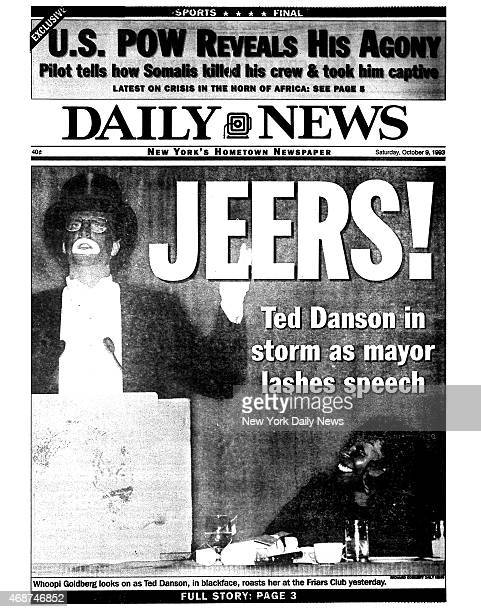 Daily News front page October 9 Headline JEERS Ted Danson in storm as mayor lashes speech Whoopi Goldberg looks on as Ted Danson in blackface roasts...