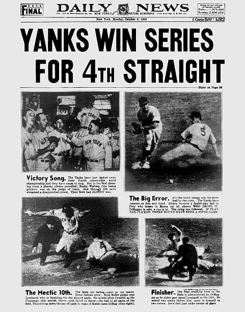 Daily News front page October 9, 1939, Headline: YANKS WIN