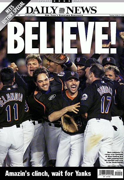 Daily News Front page of wrap, BELIEVE!, Amazin's
